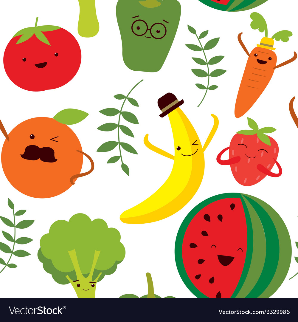 Cute print with vegetables and fruits vector | Price: 1 Credit (USD $1)