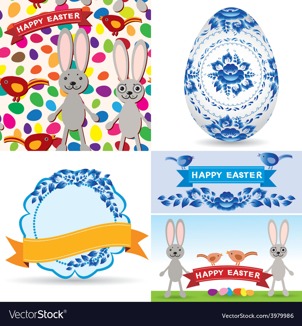 Easter set traditional eggs gzhel flowers birds vector | Price: 1 Credit (USD $1)