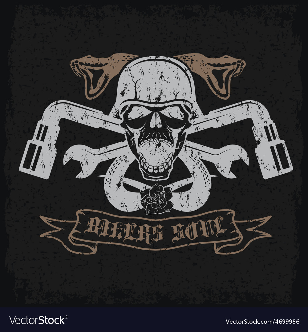 Grunge biker theme label with pistonsflowerssnakes vector | Price: 1 Credit (USD $1)