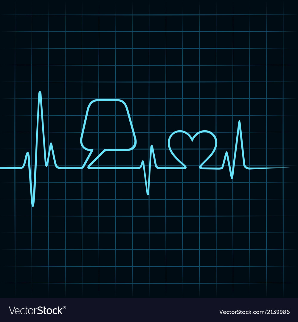Heartbeat make a message bubble and heart icon sto vector | Price: 1 Credit (USD $1)
