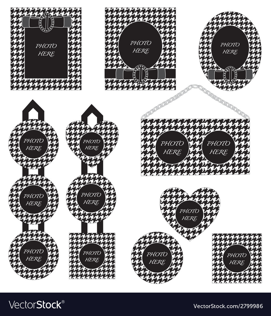 Photo frame set black white houndstooth pattern vector | Price: 1 Credit (USD $1)