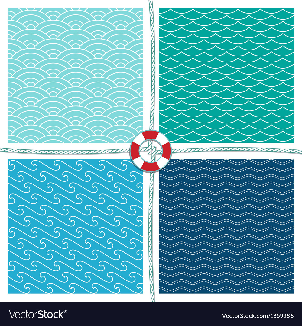 Sea pattern set background vector | Price: 1 Credit (USD $1)