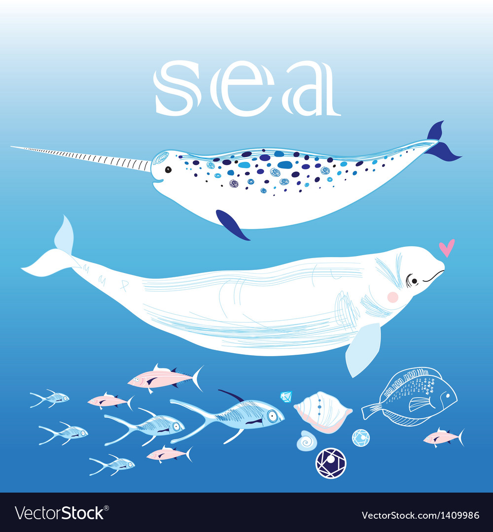 Whales in the sea vector | Price: 1 Credit (USD $1)