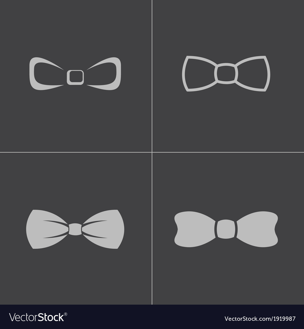 Black bow ties icons set vector | Price: 1 Credit (USD $1)