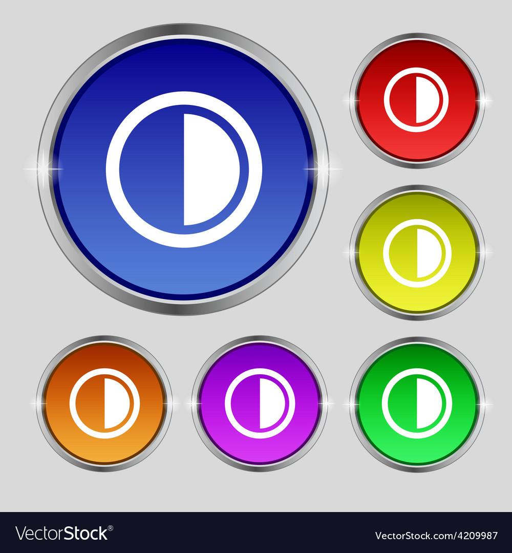 Contrast icon sign round symbol on bright vector | Price: 1 Credit (USD $1)