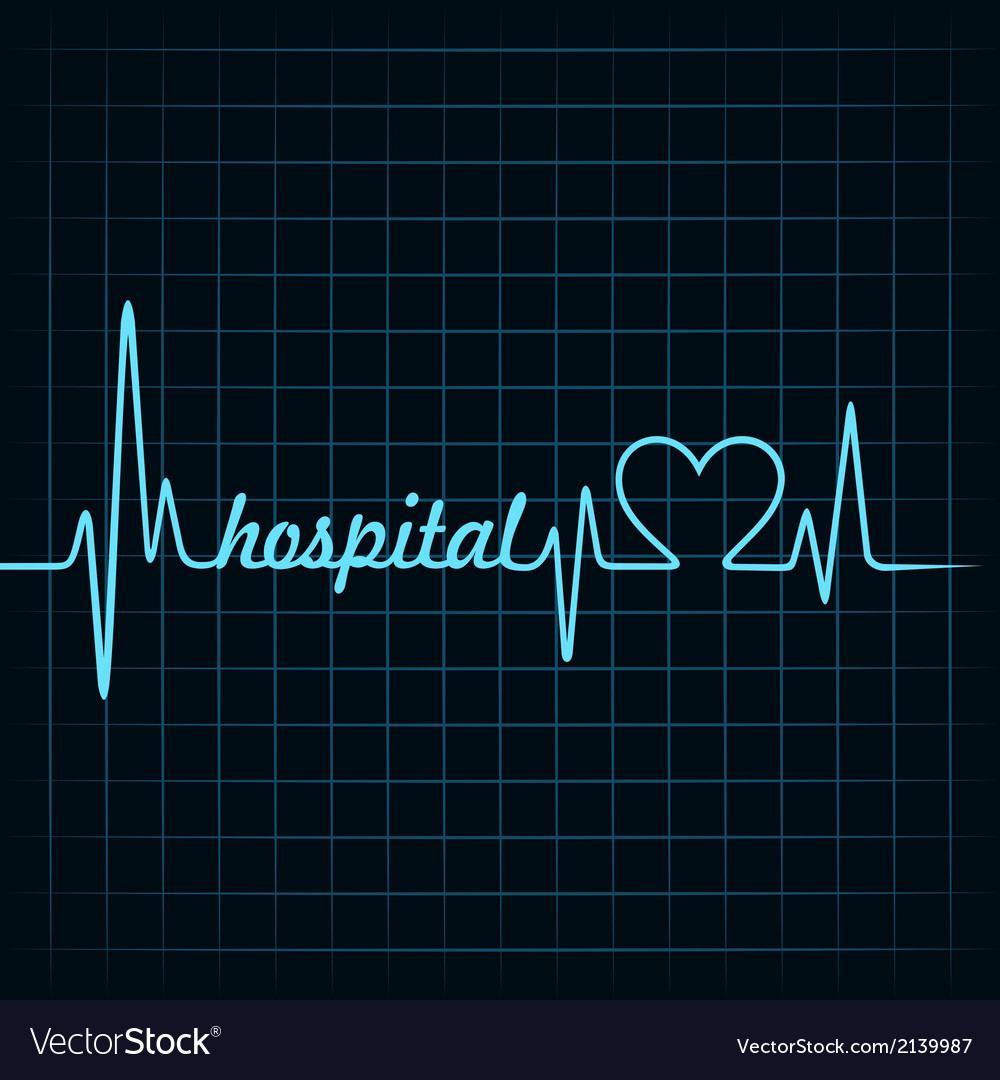 Heartbeat make a hospital text and heart symbol vector | Price: 1 Credit (USD $1)