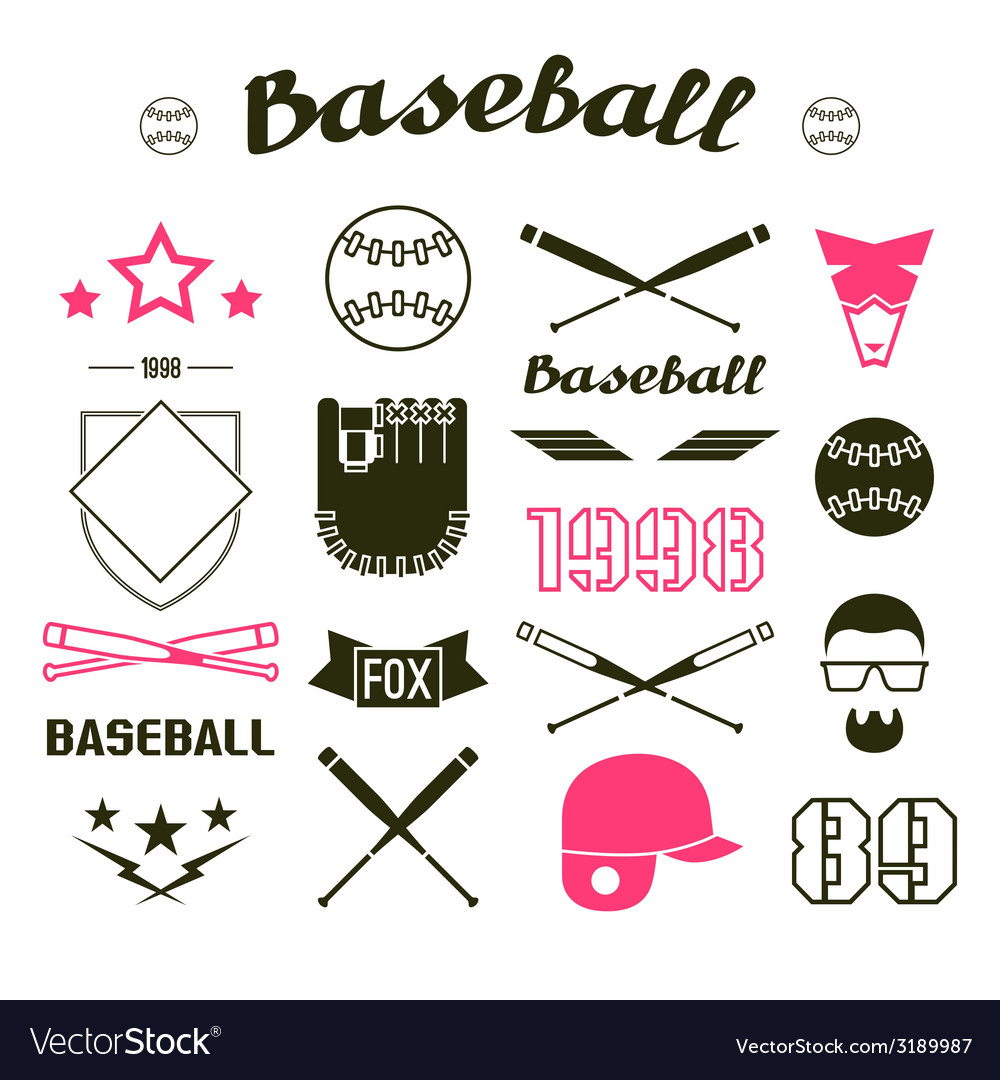 Icons baseball team vector | Price: 1 Credit (USD $1)