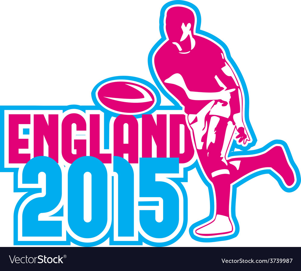 Rugby player passing ball england 2015 retro vector | Price: 1 Credit (USD $1)