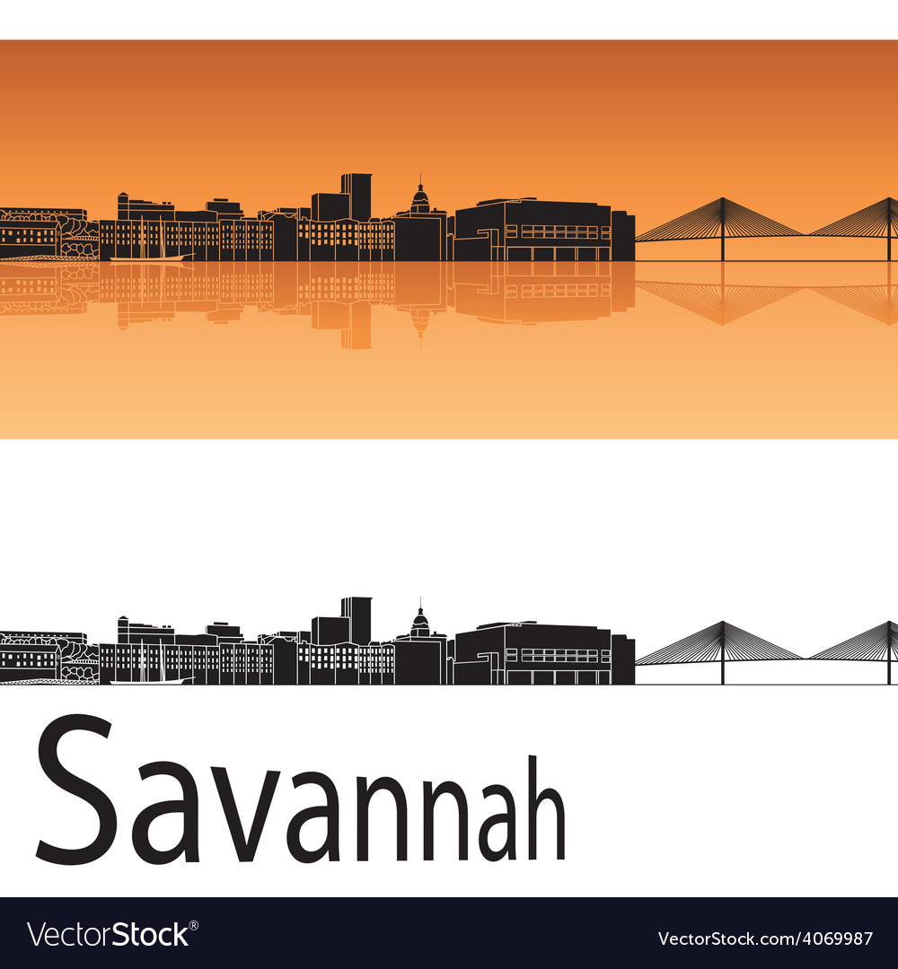 Savannah skyline in orange background vector | Price: 1 Credit (USD $1)