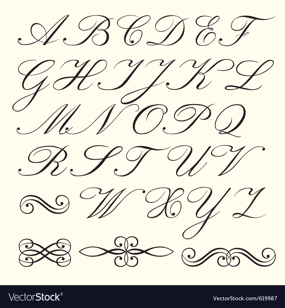 Script alphabet vector | Price: 1 Credit (USD $1)