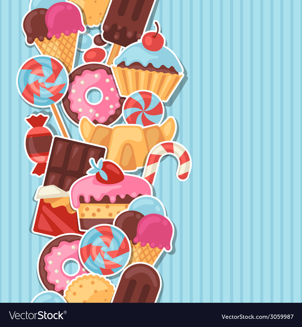 Seamless pattern colorful sticker candy sweets and vector | Price: 1 Credit (USD $1)