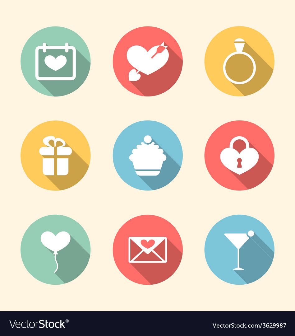 Trendy flat icons for valentines day style with vector | Price: 1 Credit (USD $1)