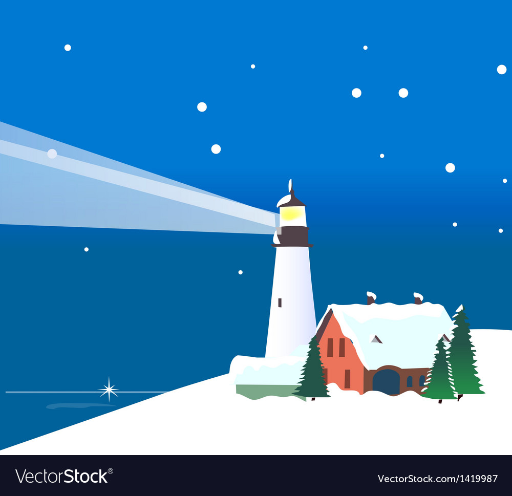 Winter mountains lighthouse vector | Price: 1 Credit (USD $1)