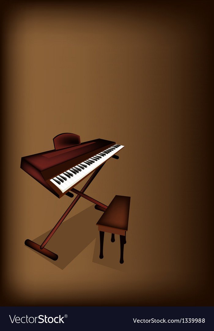 A retro synthesizer on dark brown background vector | Price: 1 Credit (USD $1)