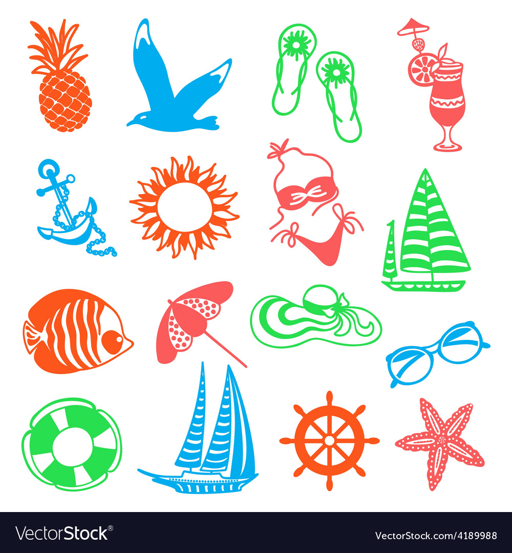 Colorful summer icons vector | Price: 1 Credit (USD $1)