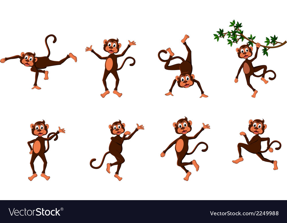 Cute monkey cartoon collection vector | Price: 1 Credit (USD $1)