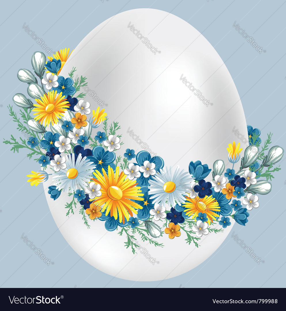 Easter egg in a wreath of flowers vintage style vector | Price: 3 Credit (USD $3)