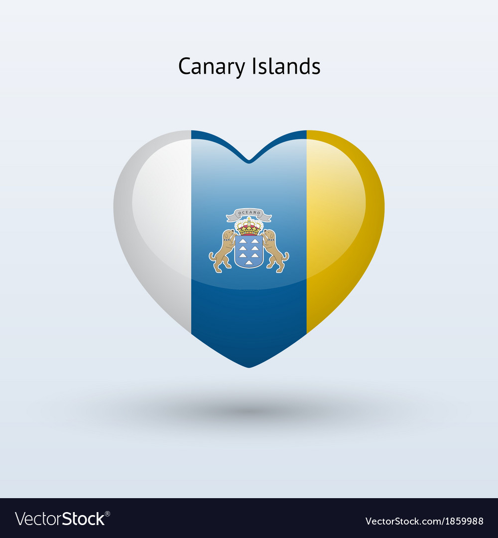 Love canary islands symbol heart flag icon vector | Price: 1 Credit (USD $1)