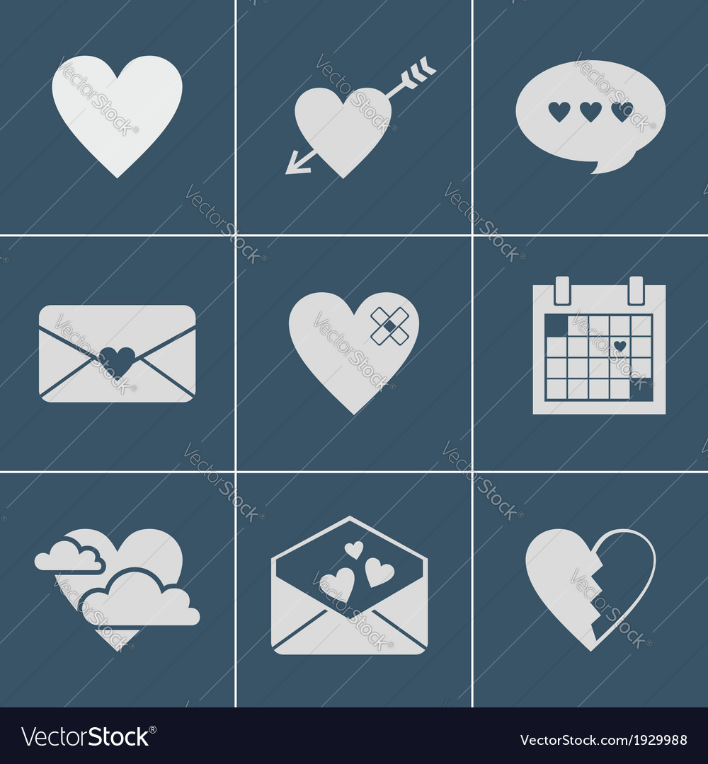 Mail love icons vector | Price: 1 Credit (USD $1)