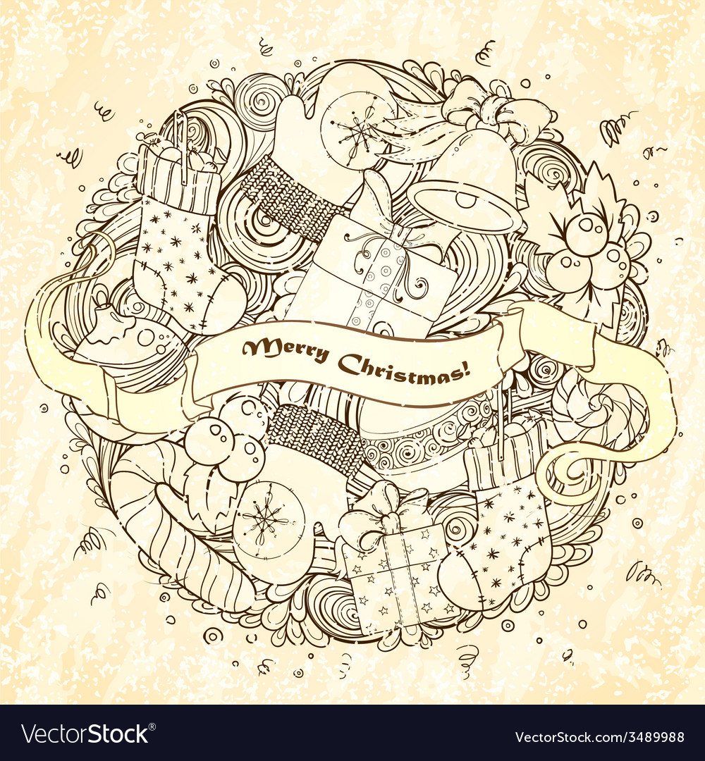 Merry christmas holiday circle composition vector   Price: 1 Credit (USD $1)