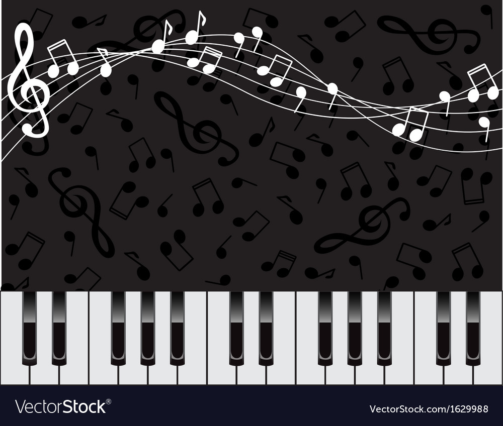 Musical background with keys and notes vector | Price: 1 Credit (USD $1)