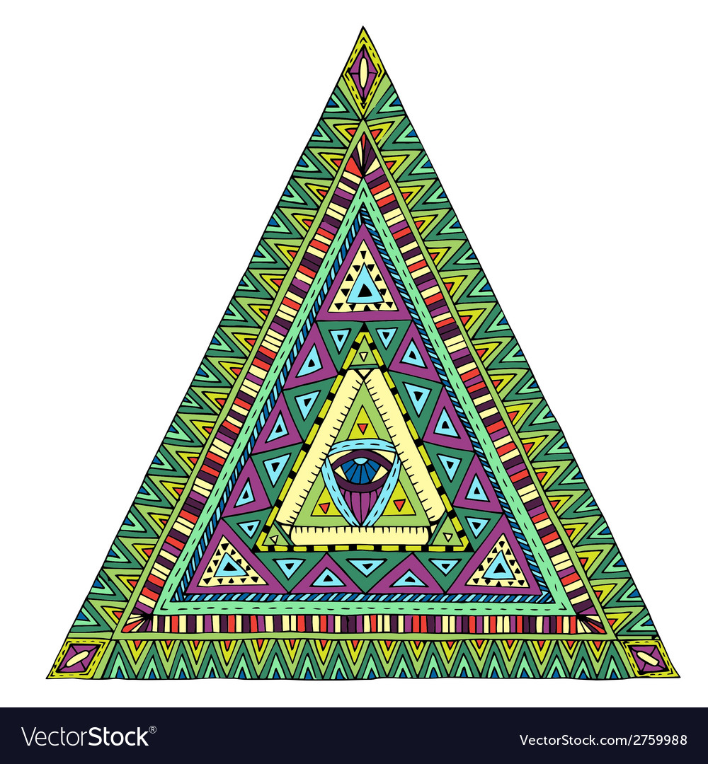 Original drawing tribal doddle triangle vector | Price: 1 Credit (USD $1)