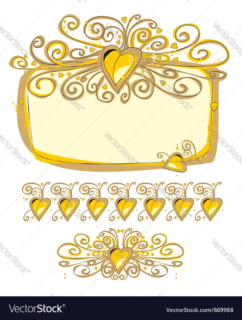 Pencil ornate love frame vector | Price: 1 Credit (USD $1)