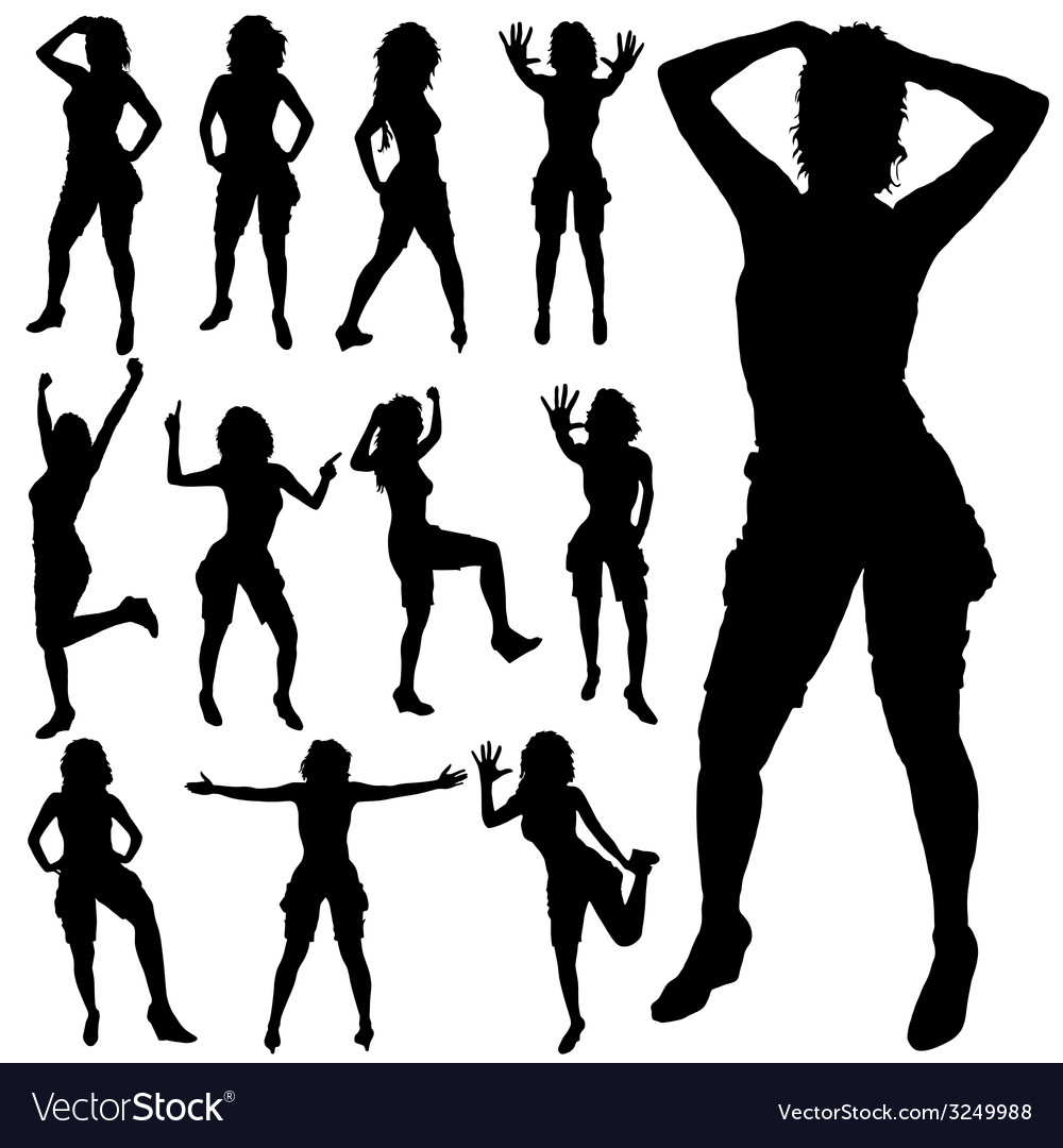 Sexy girl posing black silhouette vector | Price: 1 Credit (USD $1)