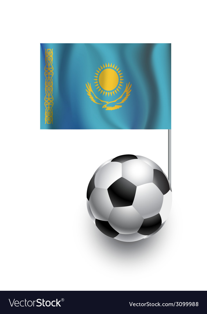 Soccer balls or footballs with flag of kazakhstan vector | Price: 1 Credit (USD $1)