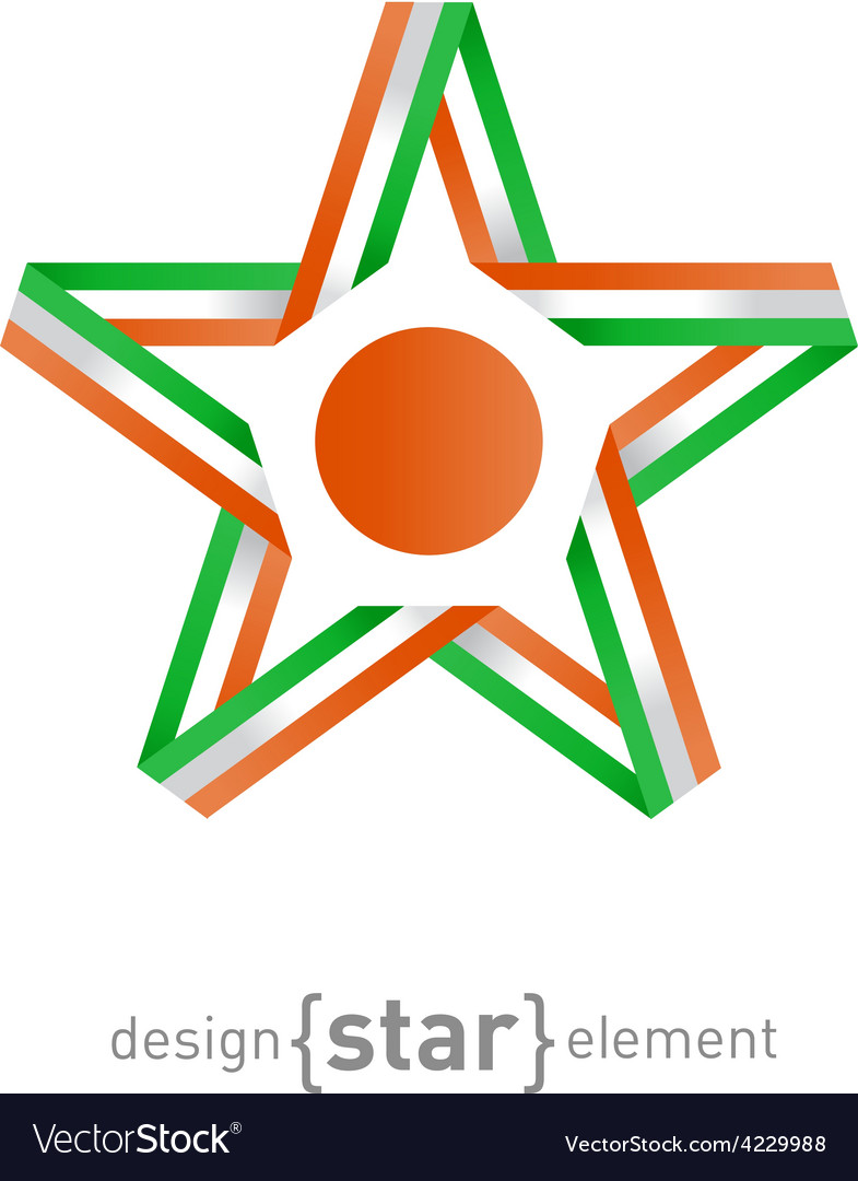 Star with flag of niger colors and symbols design vector | Price: 1 Credit (USD $1)