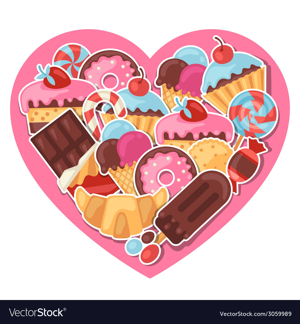 Background with colorful sticker candy sweets and vector | Price: 1 Credit (USD $1)