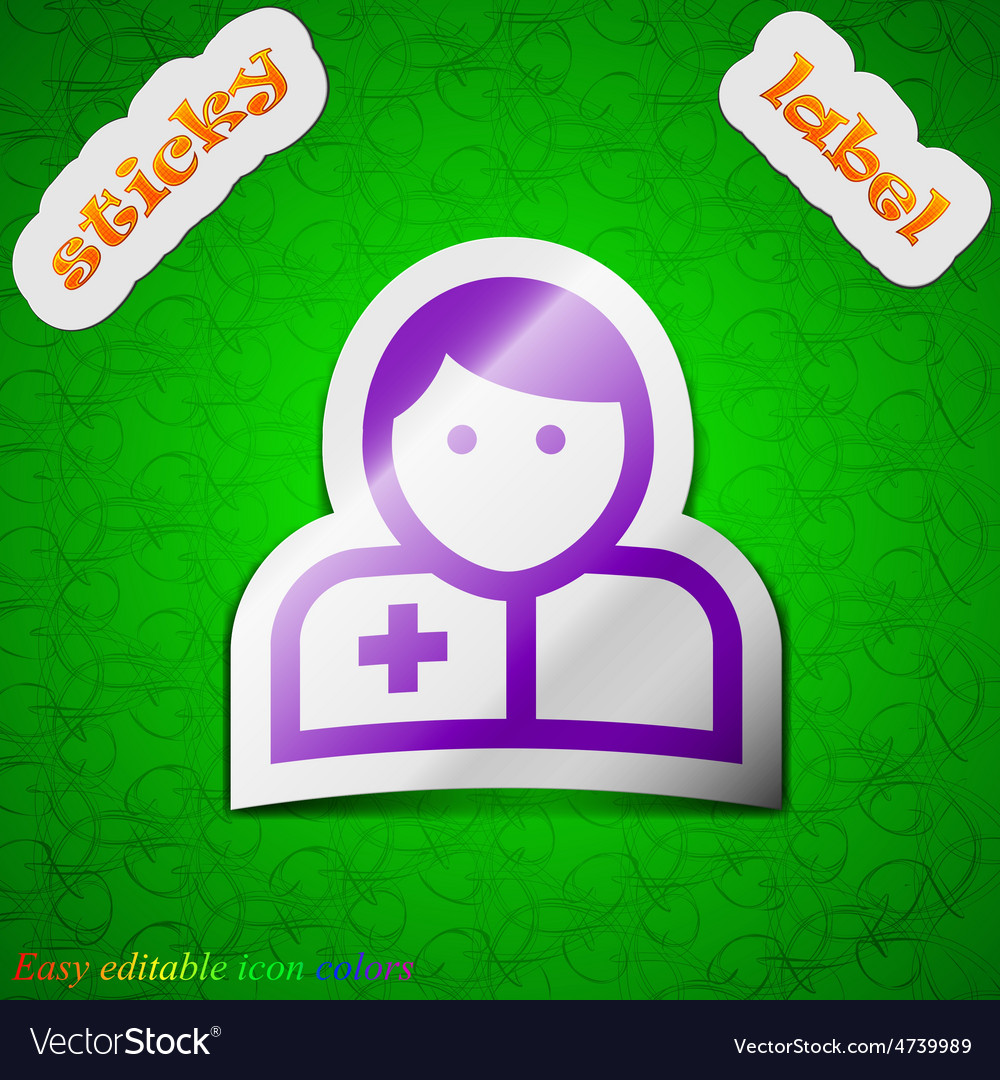 Doctor icon sign symbol chic colored sticky label vector | Price: 1 Credit (USD $1)