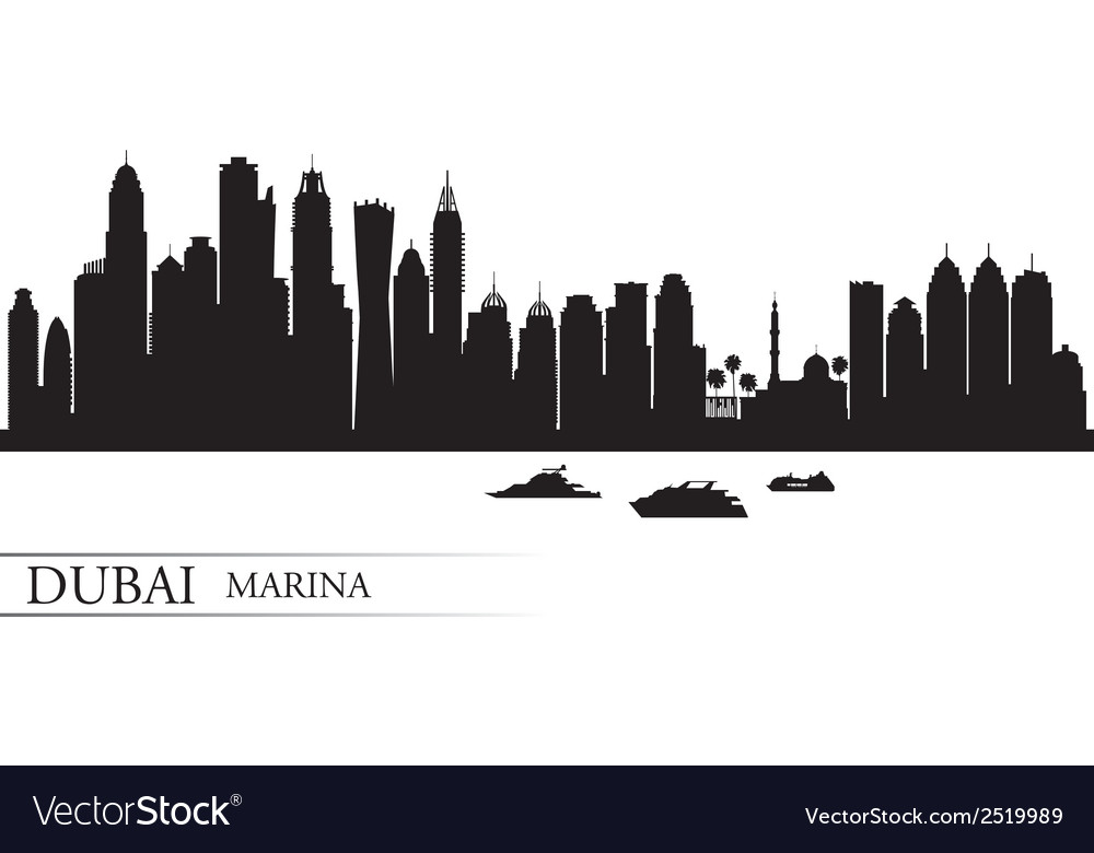 Dubai marina city skyline silhouette background vector | Price: 1 Credit (USD $1)