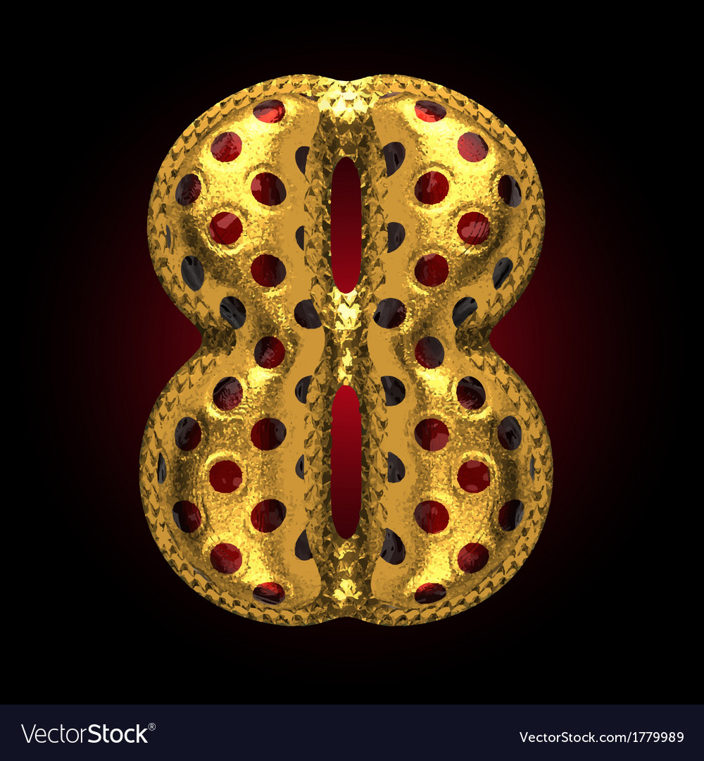 Golden and red letter 8 vector | Price: 1 Credit (USD $1)