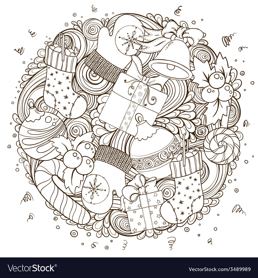 Merry christmas holiday circle composition vector | Price: 1 Credit (USD $1)