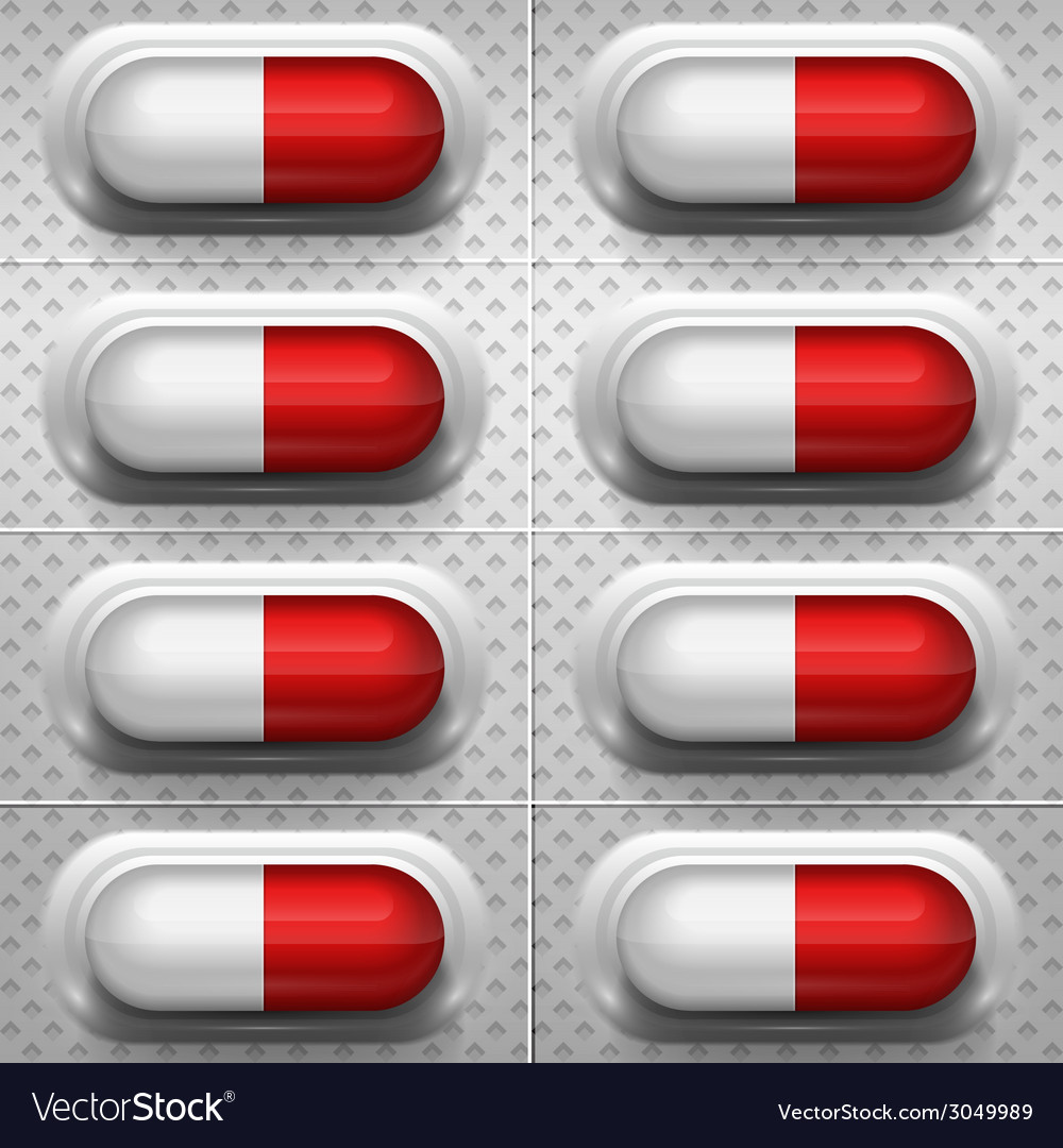 Red and white capsule pills with background vector | Price: 1 Credit (USD $1)