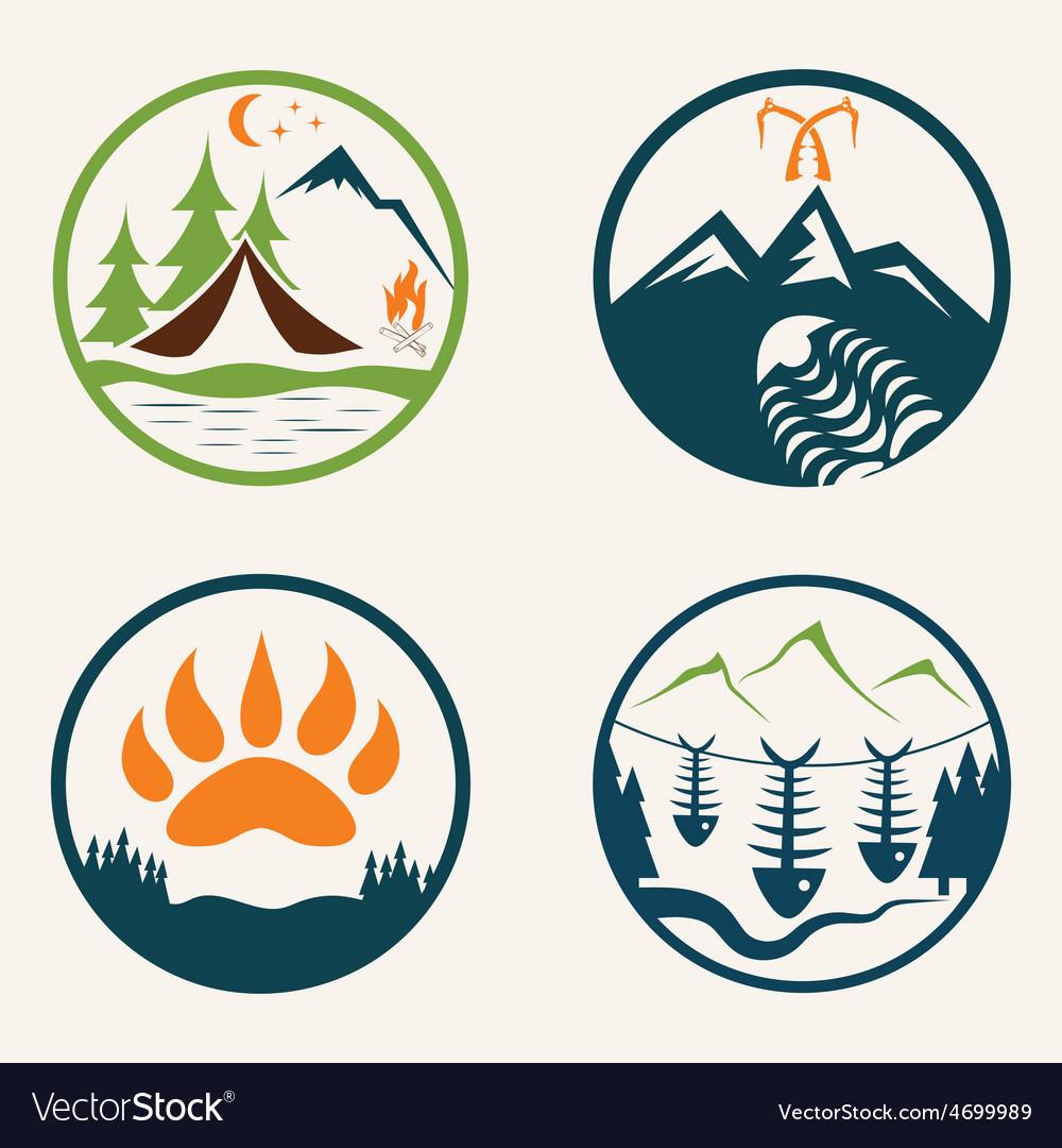 Set of vintage summer camp labels vector | Price: 1 Credit (USD $1)