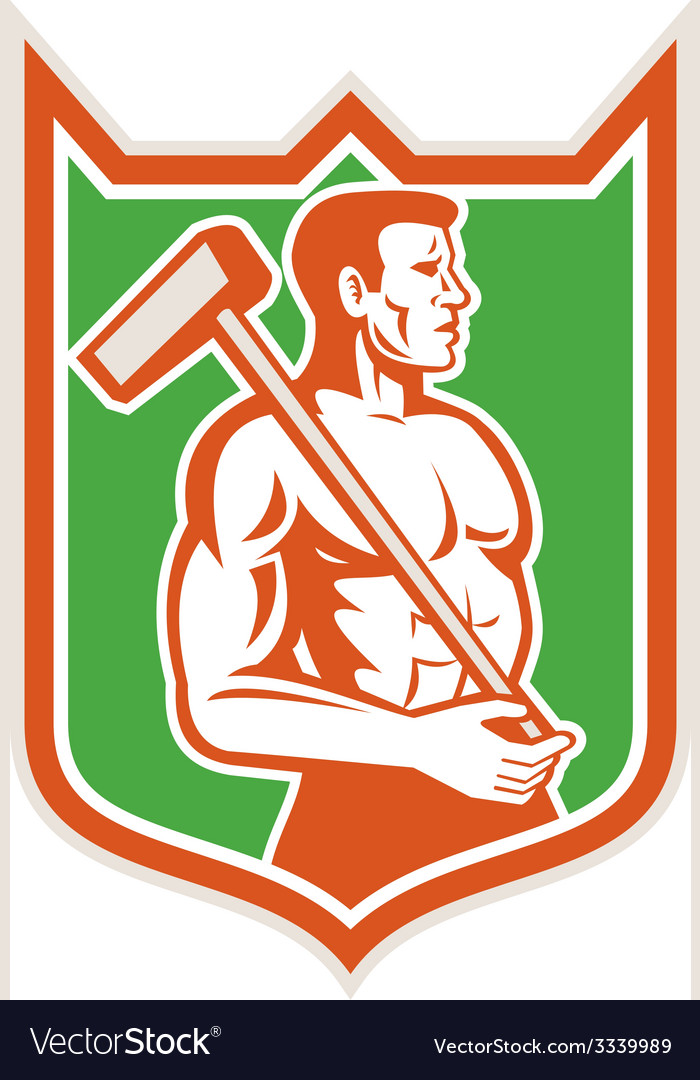 Union worker with sledgehammer shield retro vector | Price: 1 Credit (USD $1)