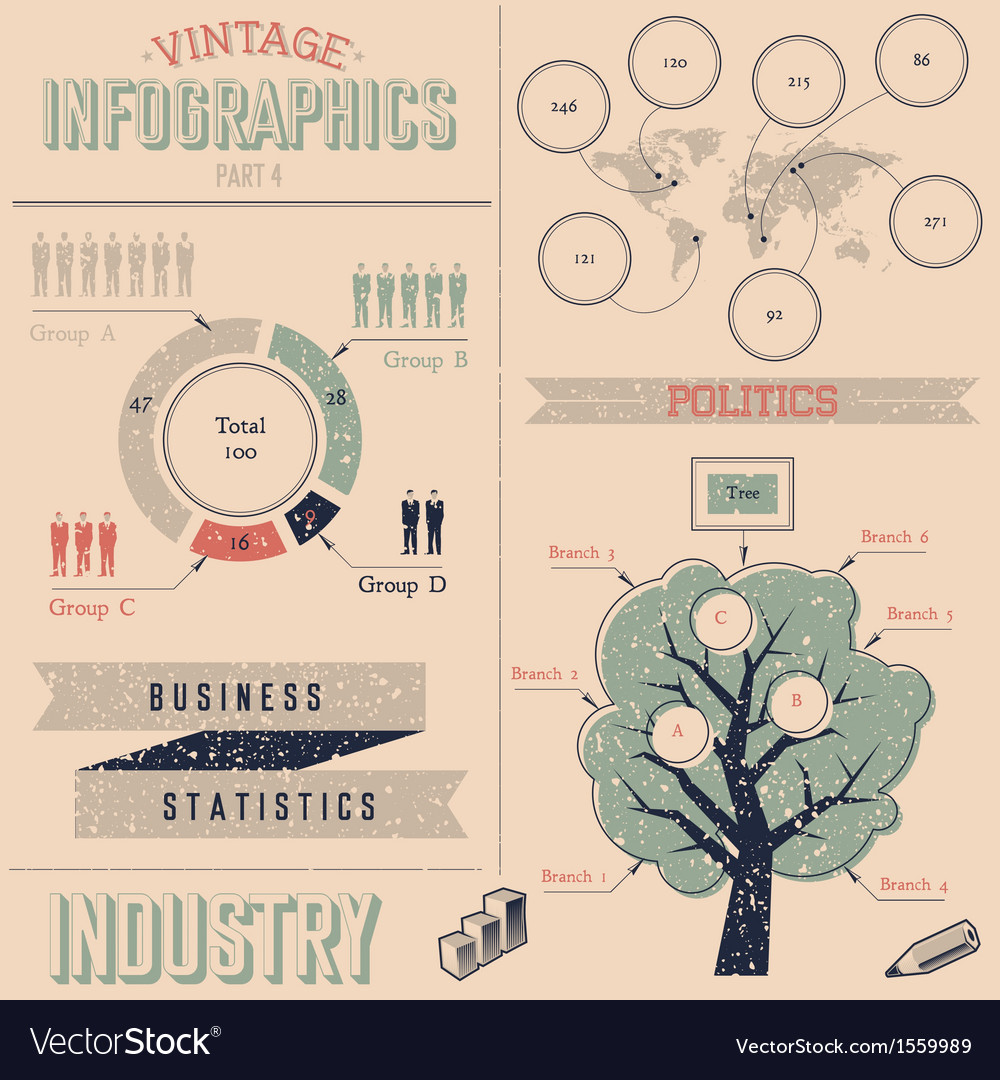 Vintage infographics design elements vector | Price: 1 Credit (USD $1)