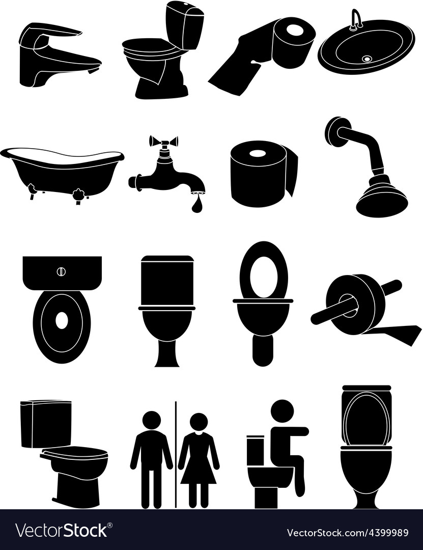 Wash room icons set vector | Price: 3 Credit (USD $3)