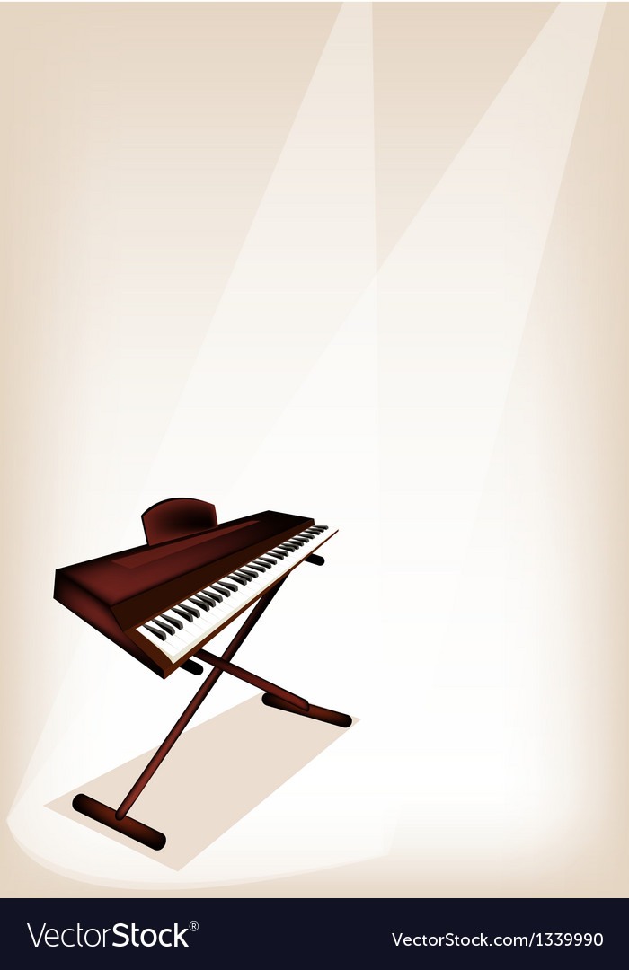 A retro synthesizer on brown stage background vector | Price: 1 Credit (USD $1)