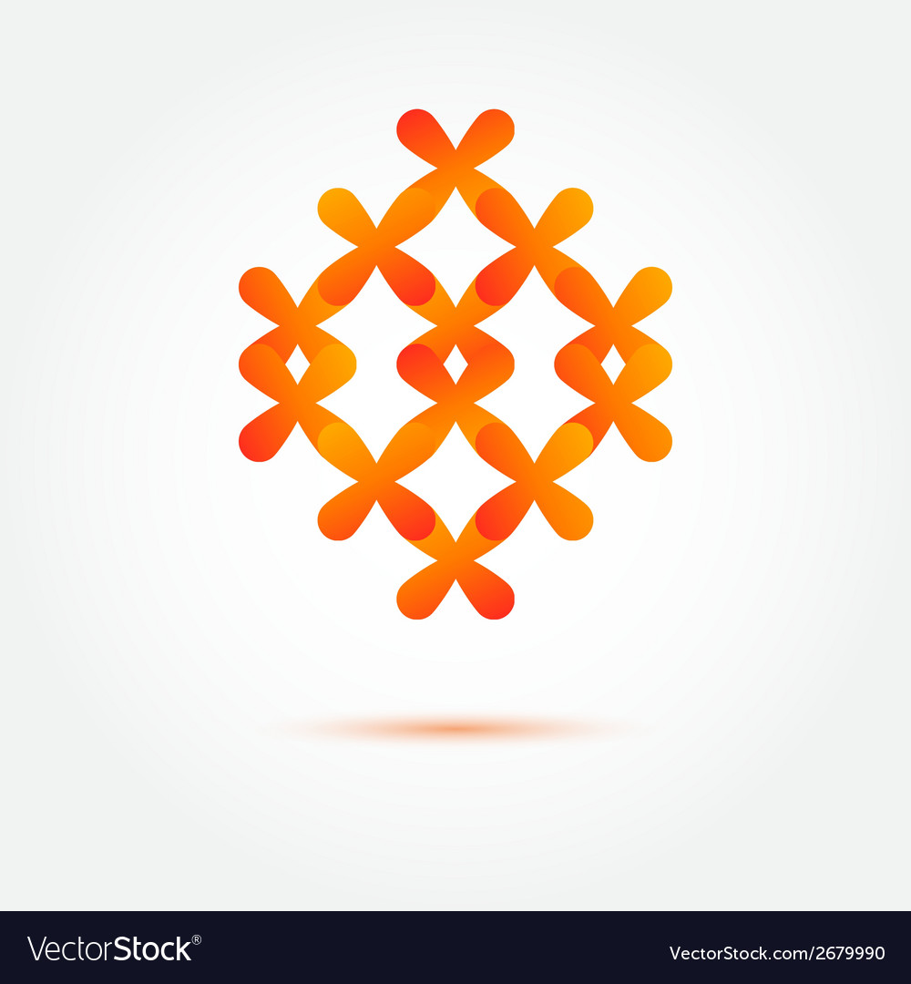 Abstract orange sybmol made of crosses vector | Price: 1 Credit (USD $1)