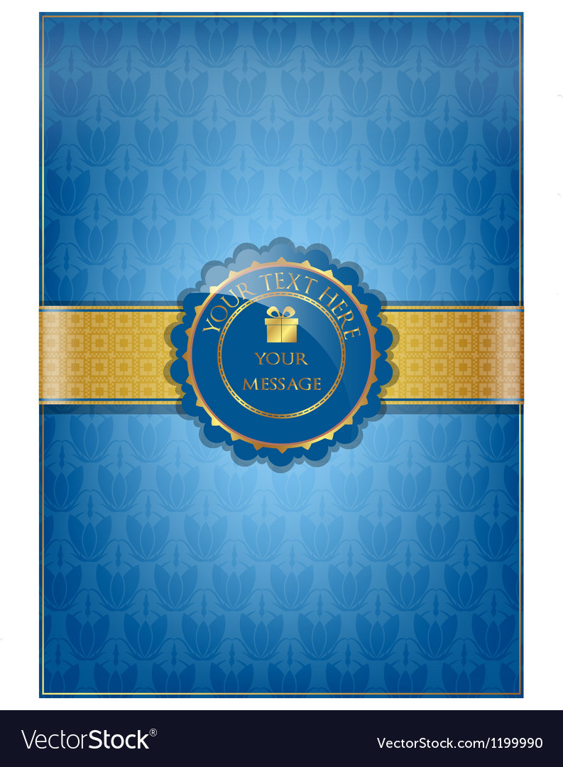 Blue floral texture and golden ribbon vector | Price: 1 Credit (USD $1)