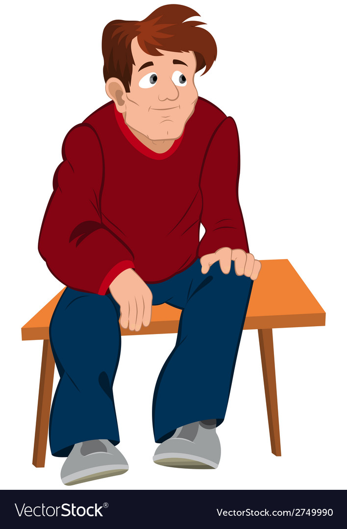 Cartoon man in red sweater and blue pants sitting vector | Price: 1 Credit (USD $1)