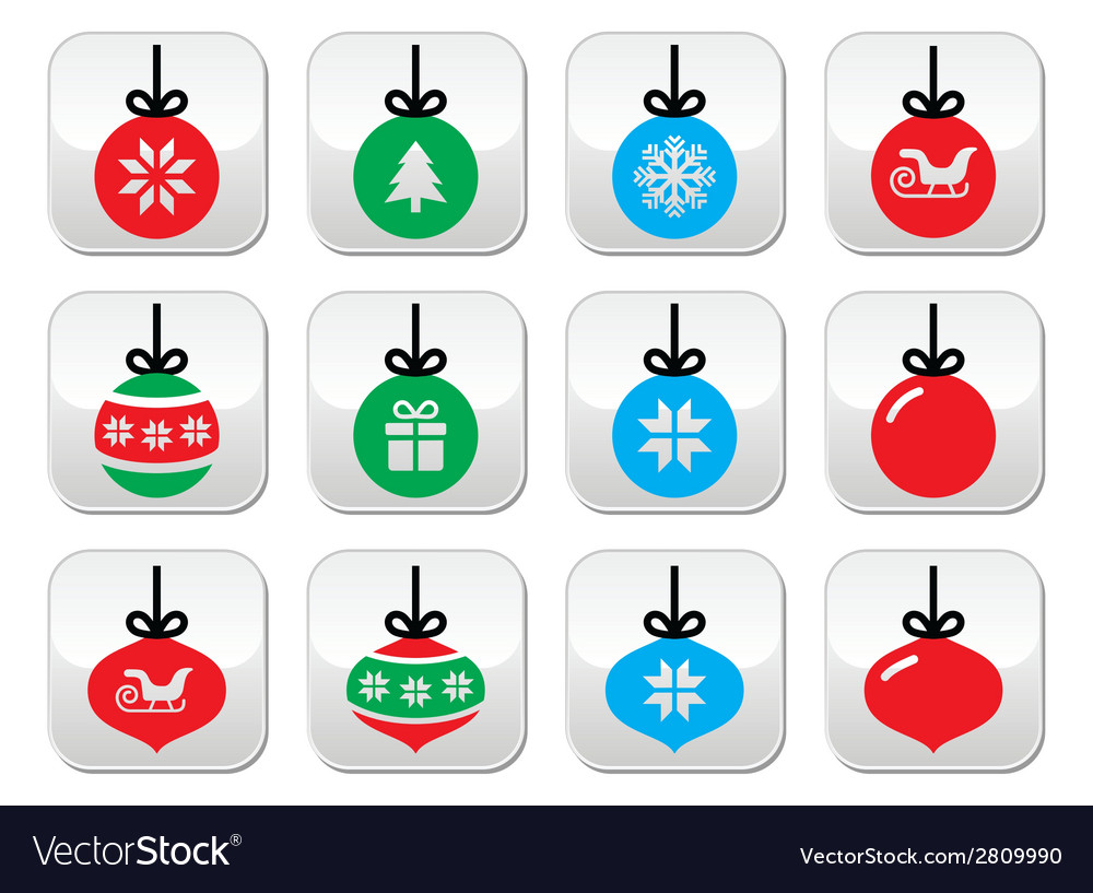 Christmas ball christmas bauble buttons se vector | Price: 1 Credit (USD $1)