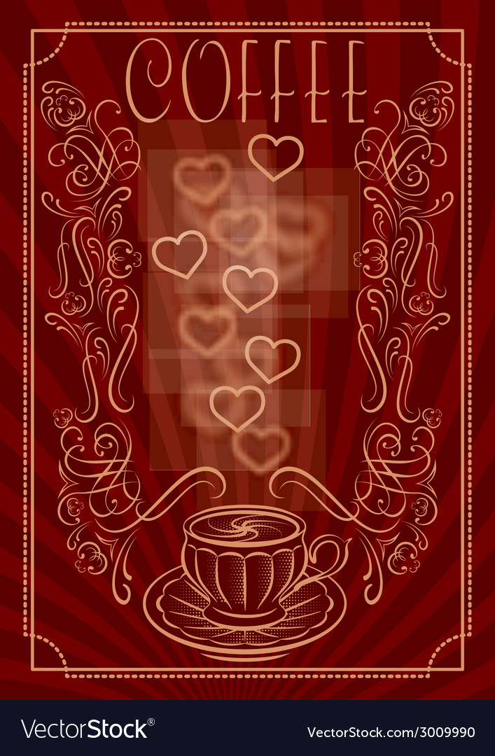 Cup for coffee with ornament and inscription vector | Price: 1 Credit (USD $1)