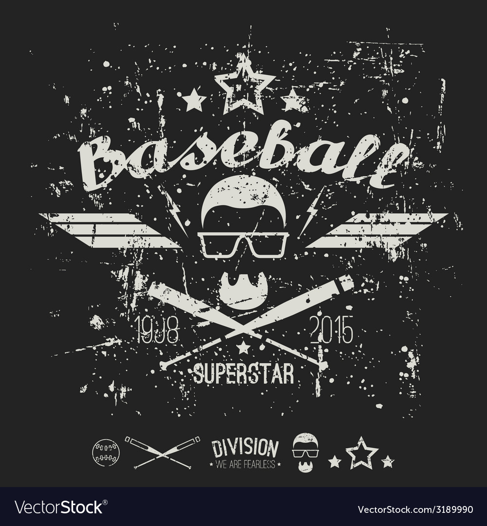 Emblem baseball superstar college team vector | Price: 1 Credit (USD $1)