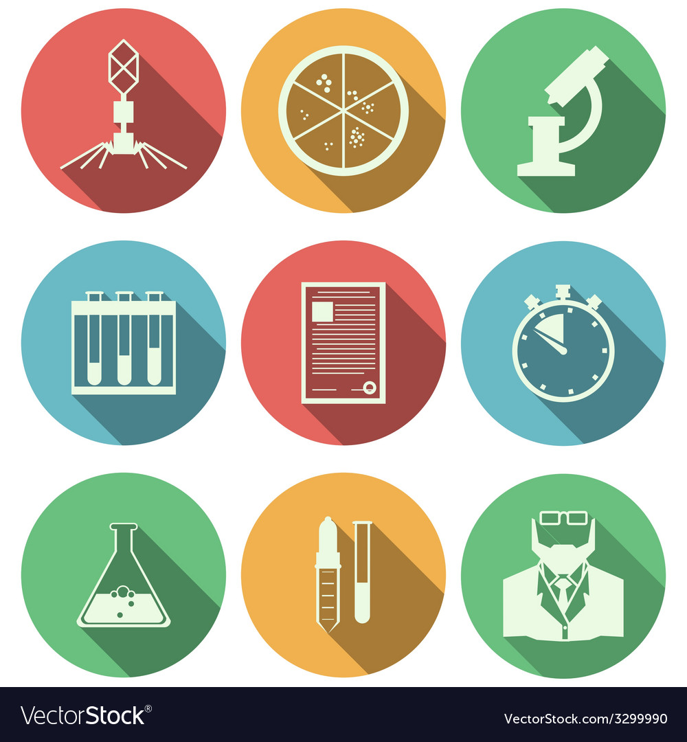 Flat icons for microbiology vector | Price: 1 Credit (USD $1)