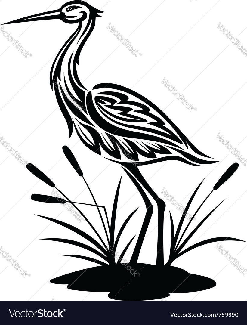 Heron bird vector | Price: 1 Credit (USD $1)
