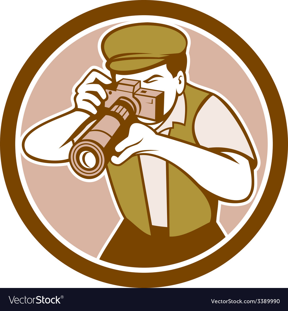 Photographer shooting camera circle retro vector | Price: 1 Credit (USD $1)